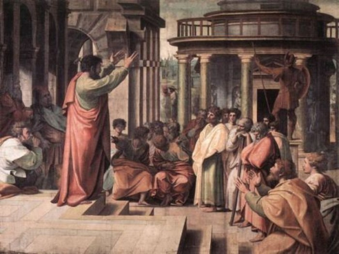 The apostle Paul, preaching and debating with Greek philosophers.